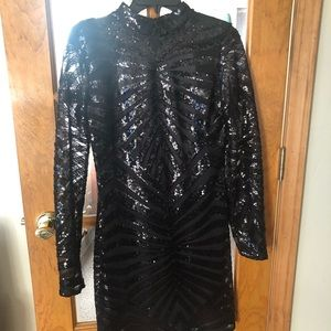 NWT black sequined cocktail dress sz 13/14